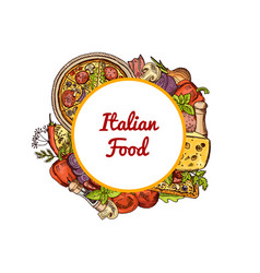 sketched italian pizza spices vegetables vector image