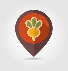 Turnip flat pin map icon vegetable root vector