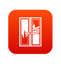 Window cleaning icon digital red vector