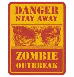 Zombie warning sign hand drawn eps8 vector