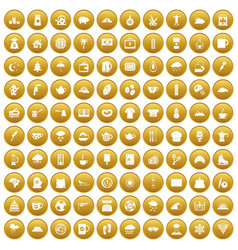 100 coffee cup icons set gold vector