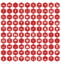 100 tv icons hexagon red vector