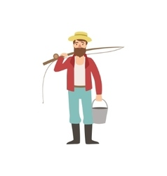Bearded man with fishing rod and bucket vector