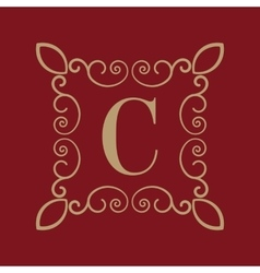 Monogram letter c calligraphic ornament gold vector