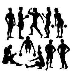 Fitness sport activity silhouettes vector