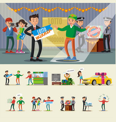 People winning lottery collection vector