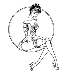 Pin up classic sexy girl vector
