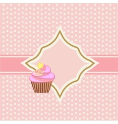 background with cupcake and decoration vector image