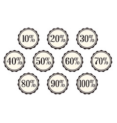 A selection of percentage off buttons over a vector