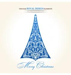 vintage Christmas tree blue vector image