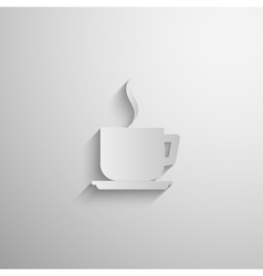 Paper 3d coffee or tea cup icon with long shadow vector