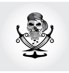Pirate skull with swordsanchor and palms vector