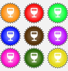 Wine glass alcohol drink icon sign a set of nine vector