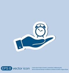 Hand holding a symbol morning alarm icon the vector