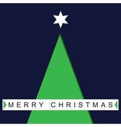 Greeting card christmas green tree and text vector