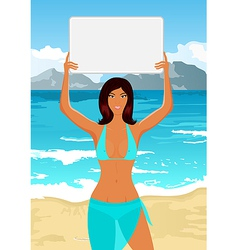 Girl in bikini with sign vector