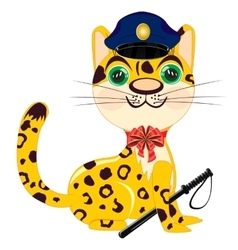 Cartoon animal leopard police vector