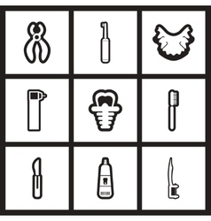 Assembly stylish black and white icons stomatology vector