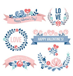 Valentines day floral elements set vector