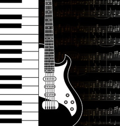 Music background with keyboard guitar and stave vector