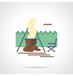 Forest camp flat color icon vector