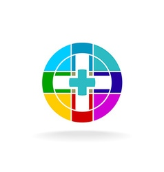 Medical cross colorful particles science digital vector
