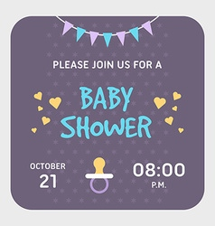 Baby shower invitation card template Violet vector image vector image