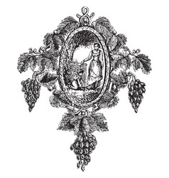 Brooch leaves and bunches of grapes vintage vector