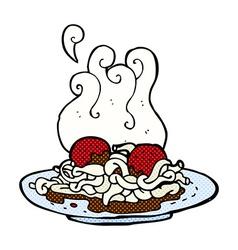 Comic cartoon spaghetti and meatballs vector