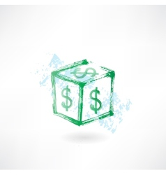 Dollar cube grunge icon vector
