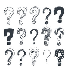 Doodle question marks hand drawn interrogation vector