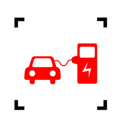 Electric car battery charging sign red vector