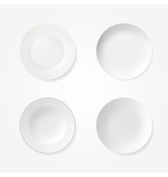 Empty plates set isolated on white background vector