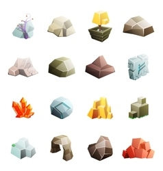 Game art environment low poly rock stone boulder vector