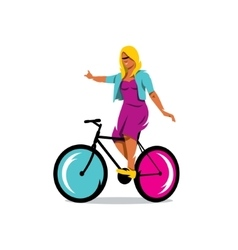 Girl on bike sign vector