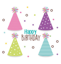happy birthday card with hat party vector image