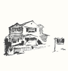 house real estate drawn sale vector image vector image