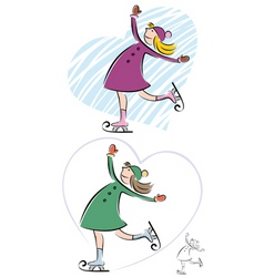 iceskating girl vector image