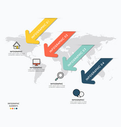 Infographic elements design with icons on map vector