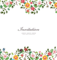 invitation card with cute flowers for your design vector image vector image