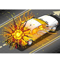 Isometric white car in explosion in rear view vector