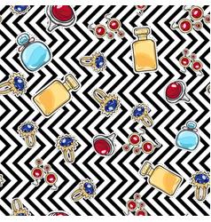Jewelry for women elite perfume seamless pattern vector