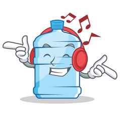 Listening music gallon character cartoon style vector
