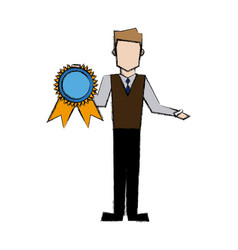 Man holding award medal champion prize vector