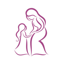 Mother and daughter symbol vector