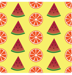 seamless pattern with orange and watermelon slices vector image