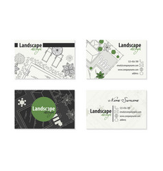 set of business cards landscape design vector image