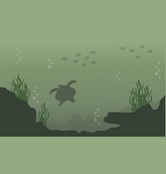Silhouette of turtle and fish landscape vector