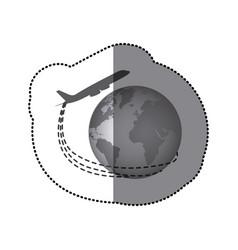 Sticker monochrome airplane around earth world vector
