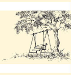 Swing under the tree playground vector